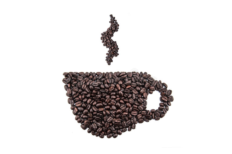 Coffee cup and steam made from beans on white background stock photos