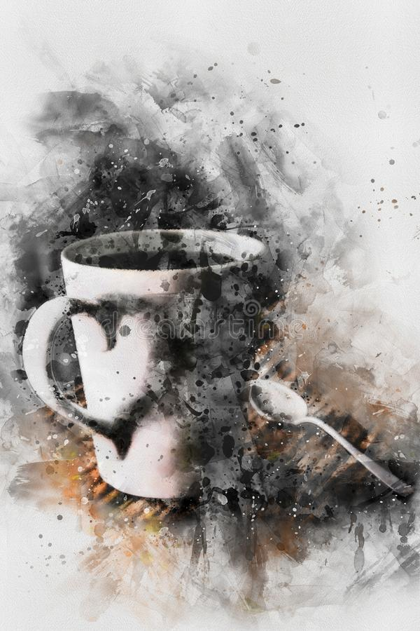 Coffee cup with steam watercolor painting,digital art style, illustration painting. Coffee cup with steam watercolor painting on white background,digital art stock illustration