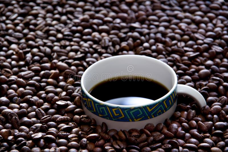 Coffee cup surrounded with beans royalty free stock photos