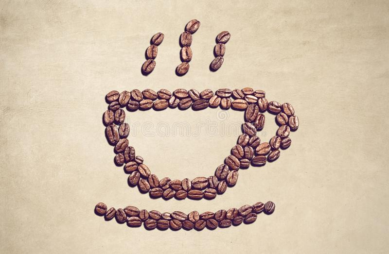 Coffee Cup Symbol Made Out Of Coffee Beans Stock Image Image Of