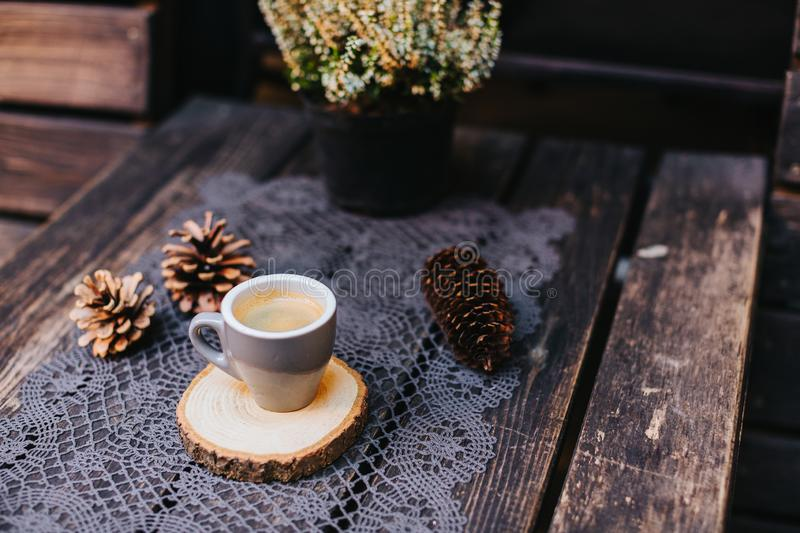 Coffee cup on table. Cup of hot latte coffee in the relaxing time. cup of coffee on wooden. Lavender. Aroma of lavender. Aroma of royalty free stock photo