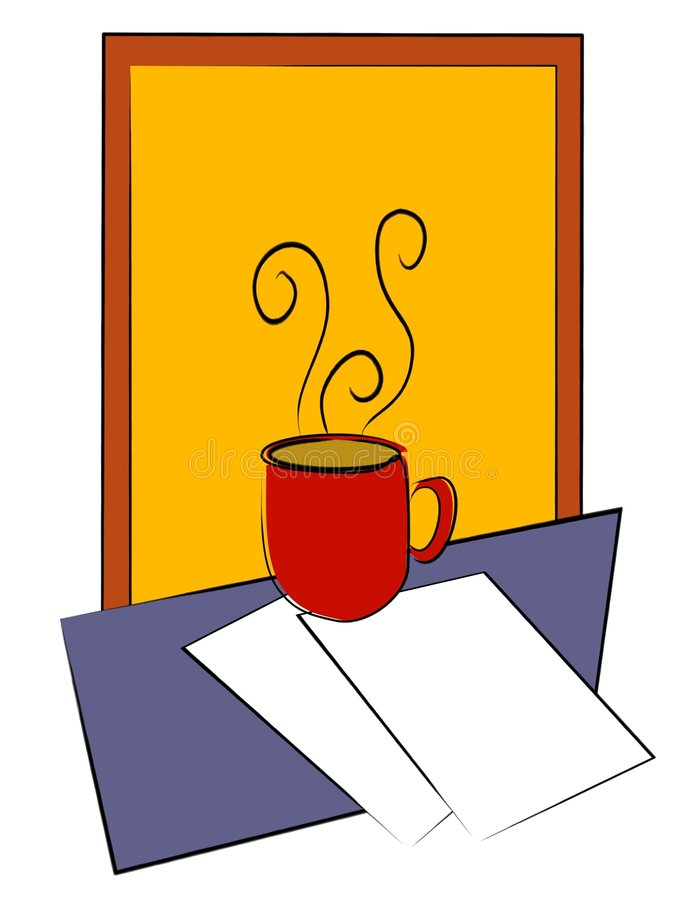 Coffee Cup on Table W/ Papers. A simple coffee cup sitting on papers with a blue table and yellow and red background. Generous amount of space around image for vector illustration