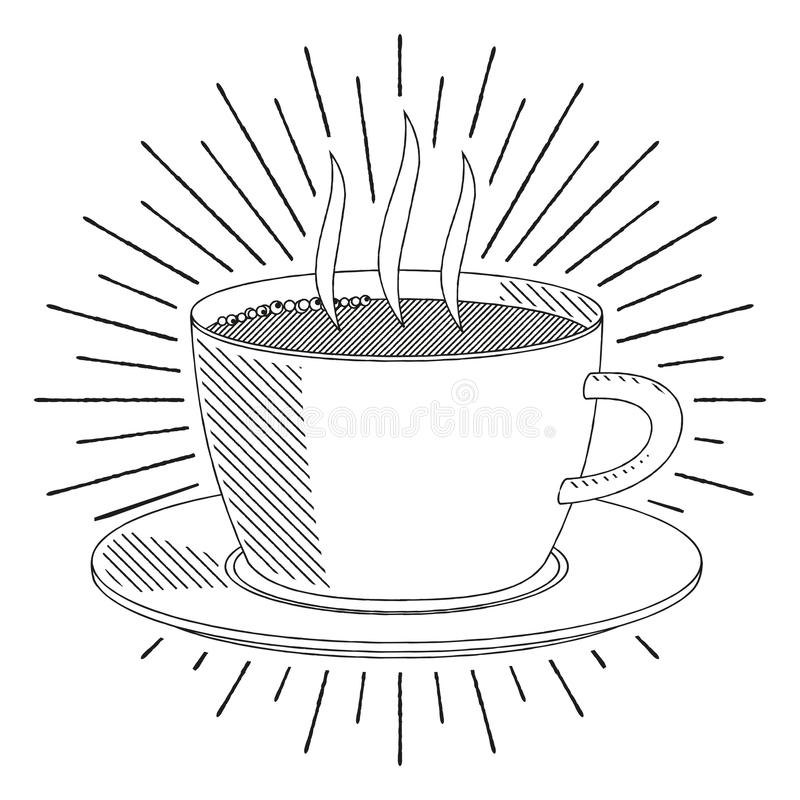 Coffee cup/ tea cup - black and white illustration/ drawing. Coffee cup/ tea cup - black and white vector illustration/ drawing vector illustration