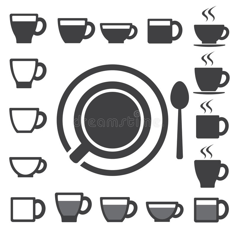 Coffee cup and Tea cup icon set.Illustration stock illustration
