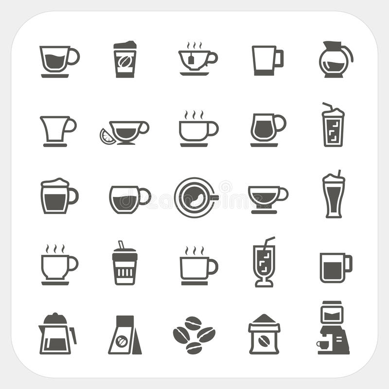 Coffee cup and Tea cup icons set vector illustration