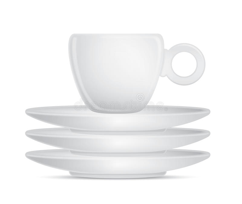 Coffee cup with three plates royalty free illustration