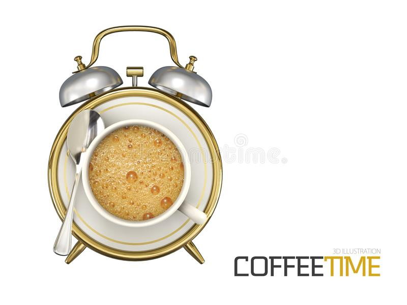 Coffee cup time clock concept design background, 3d Illustration stock illustration