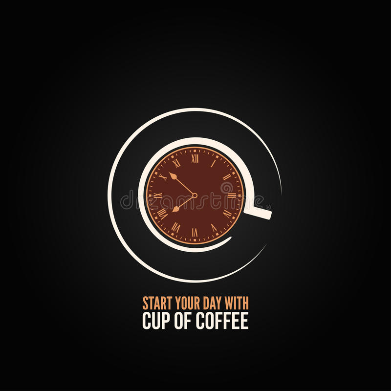 Coffee cup time clock concept design background royalty free illustration