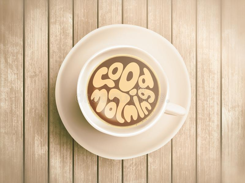 Coffee cup with time lettering about good morning, awaking on realistic wooden background. Cappuccino from above with royalty free stock photo