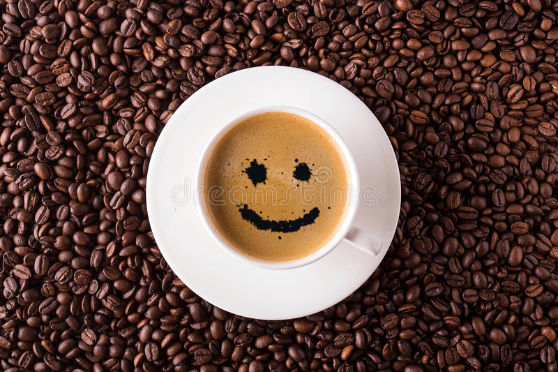 Coffee cup top view with smile royalty free stock photo