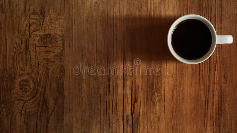 Coffee Cup Top View On Wooden Table Background Stock Photo ...