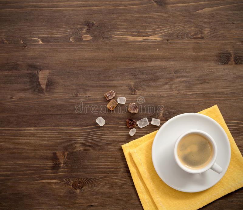 Coffee Cup Top View On Wooden Table Background Stock Photo