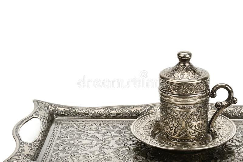 Coffee cup and tray isolated on a white background.Free space for text royalty free stock photo