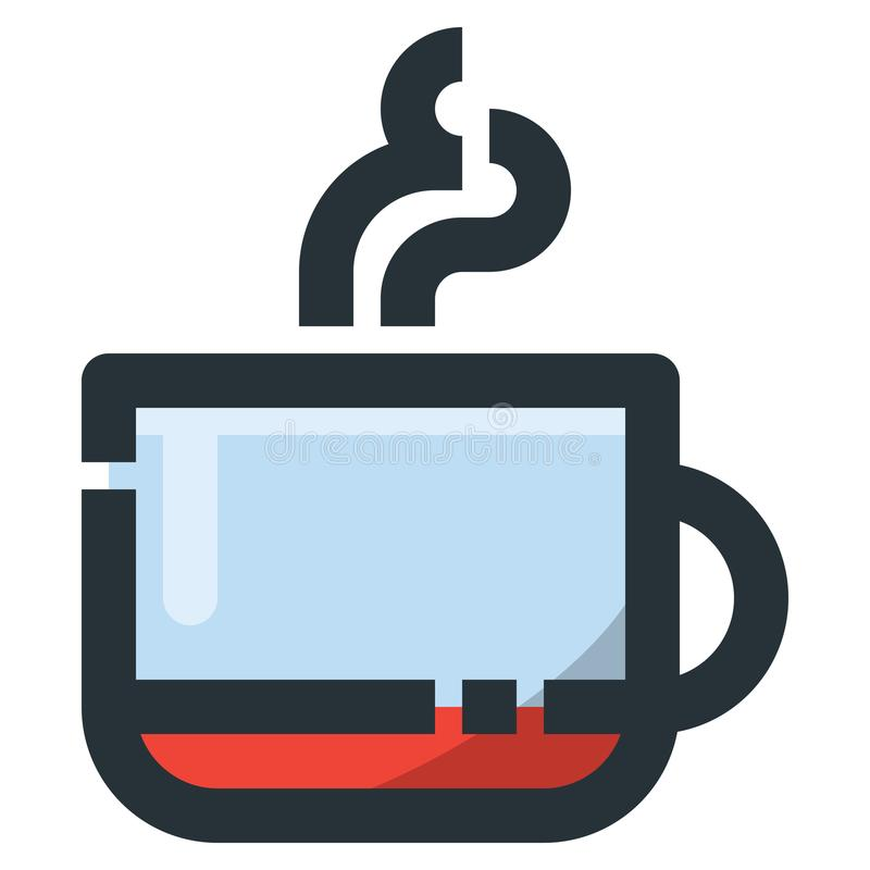 Coffee Cup Vector Filled Line Icon 32x32 Pixel Perfect. Editable. 2 Pixel Stroke Weight. Colorful Medical Health Icon for Website Mobile App Presentation stock illustration