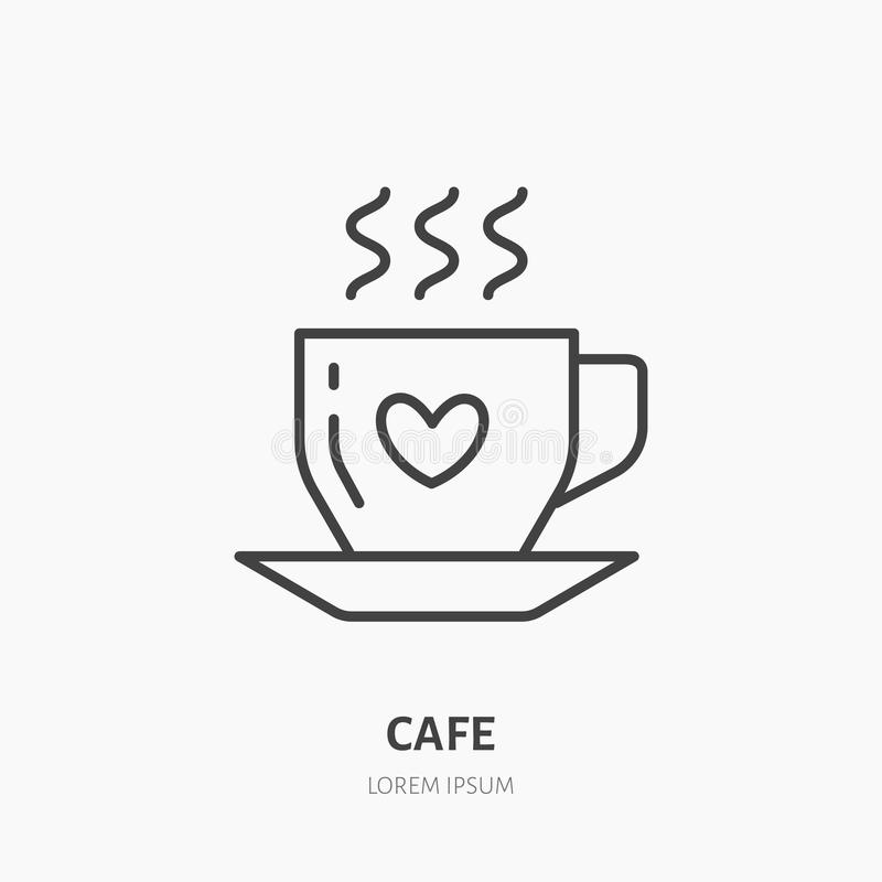 Coffee cup vector flat line icon. Cafe linear logo. Outline symbol of hot drink stock illustration