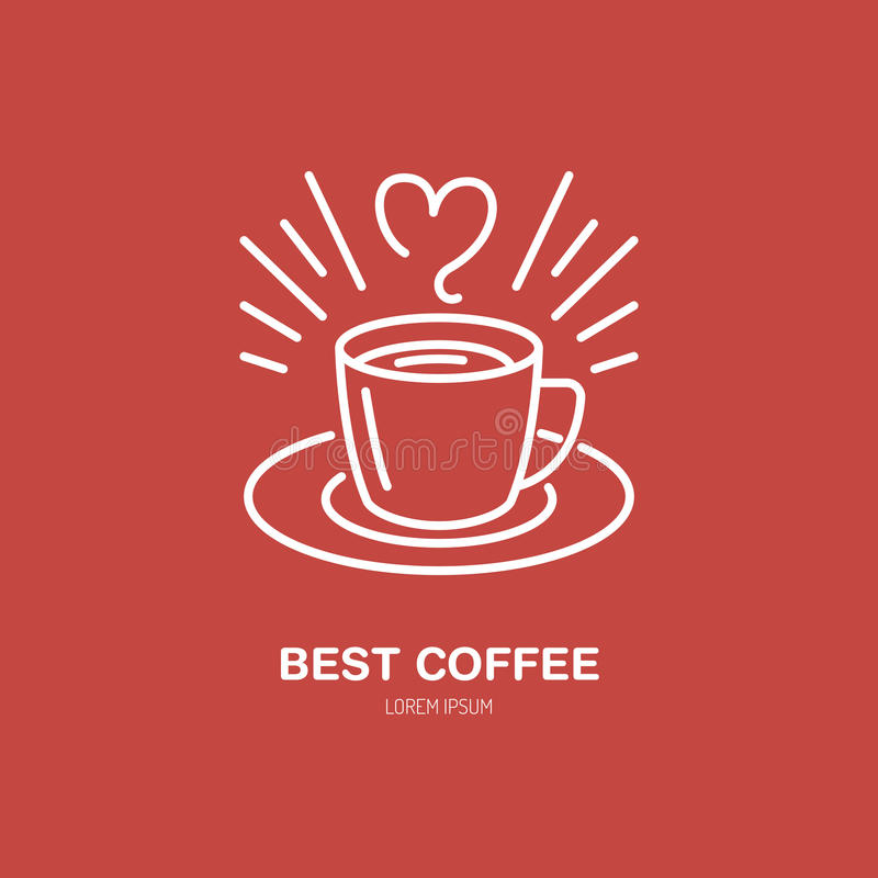 Free Coffee Cup Vector Line Icon. Barista Equipment Linear Logo. Outline Symbol For Cafe, Bar, Shop Stock Image - 87510751