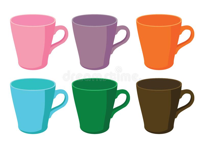 Coffee cup Multi colo and many coffee cups Multi color pink purple orange blue green brown. On white background illustration vector stock illustration