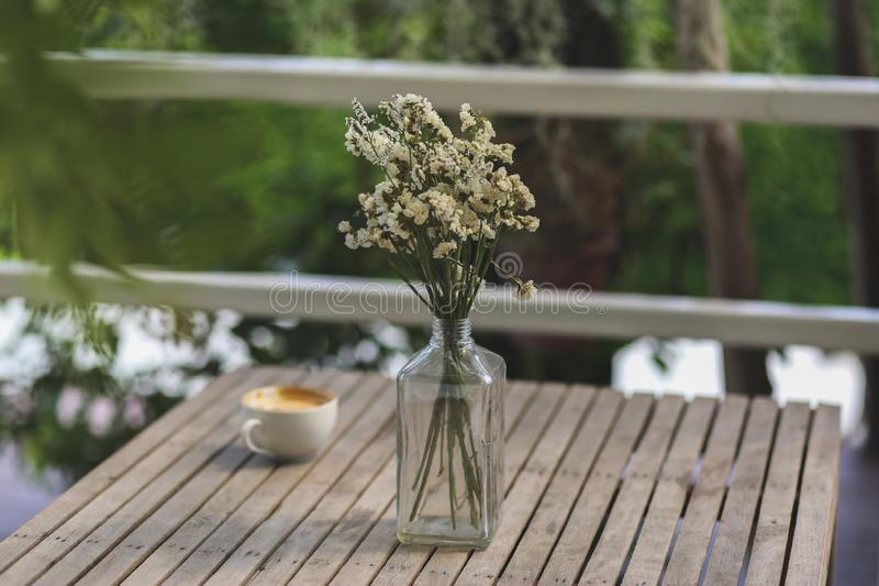 Coffee cup and white flower on wooden table stock photo