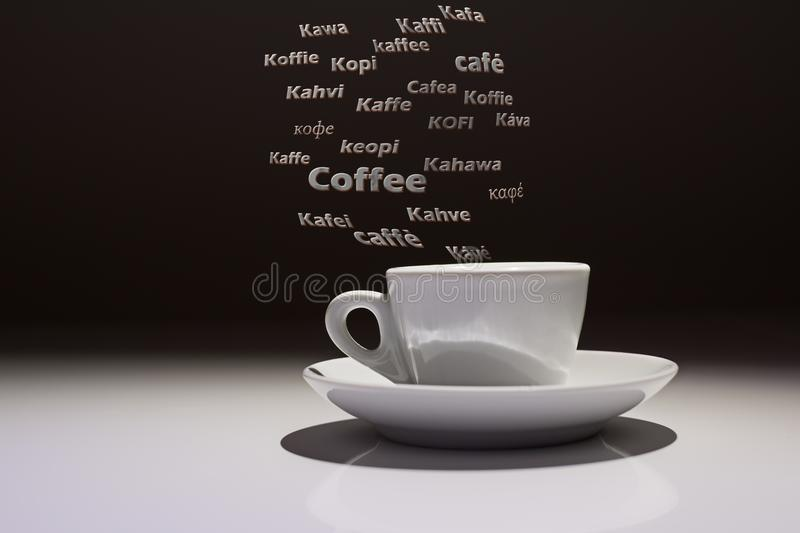 Coffee cup with the word Coffee in many languages of the world. Coffee cup with the word Caffè in many languages of the world royalty free stock photos