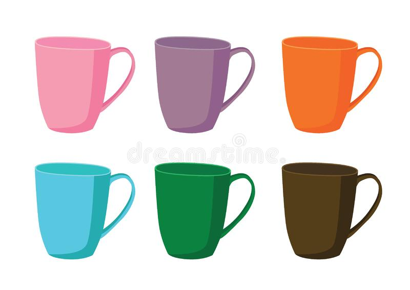 Coffee cup Multi color and Many coffee cups Multi color pink purple orange blue green brown stock illustration