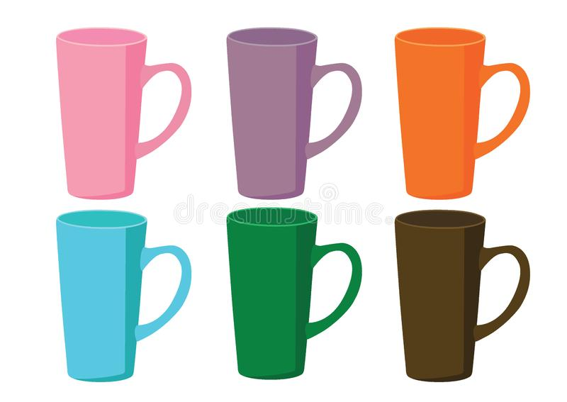 Coffee cup Multi color on white background and many coffee cups Multi color pink purple orange blue green brown stock illustration
