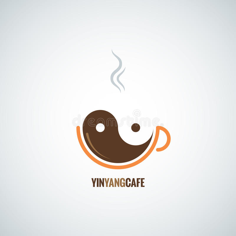Coffee cup yin yang background. 8 eps vector illustration