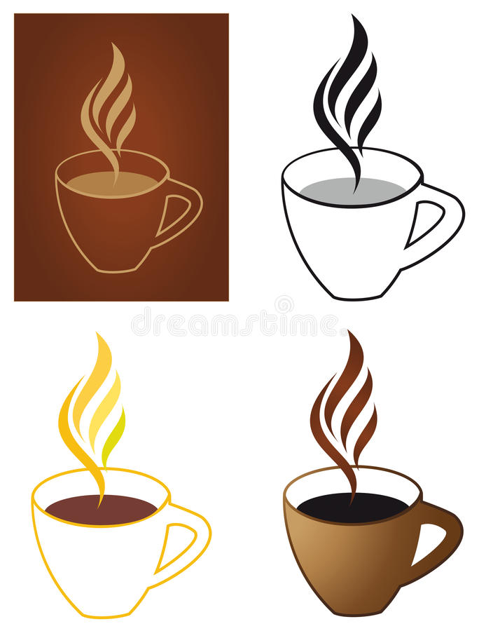 Download Coffee cups stock vector. Image of dark, glass, button - 15017780