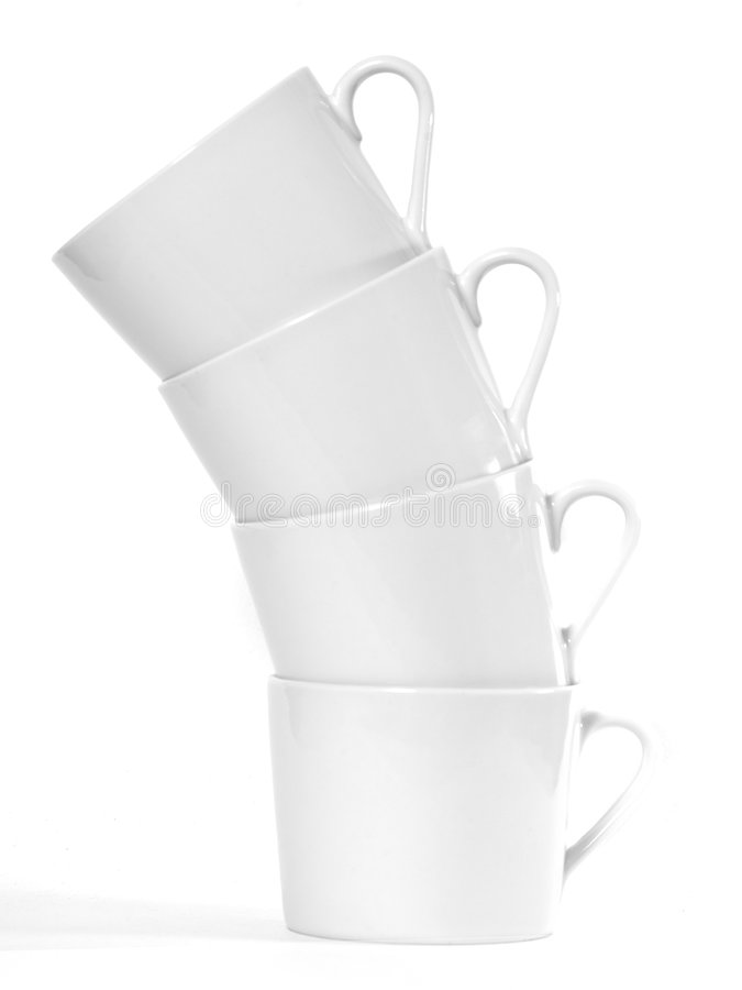 Coffee Cups. A tower of white coffee cups royalty free stock images