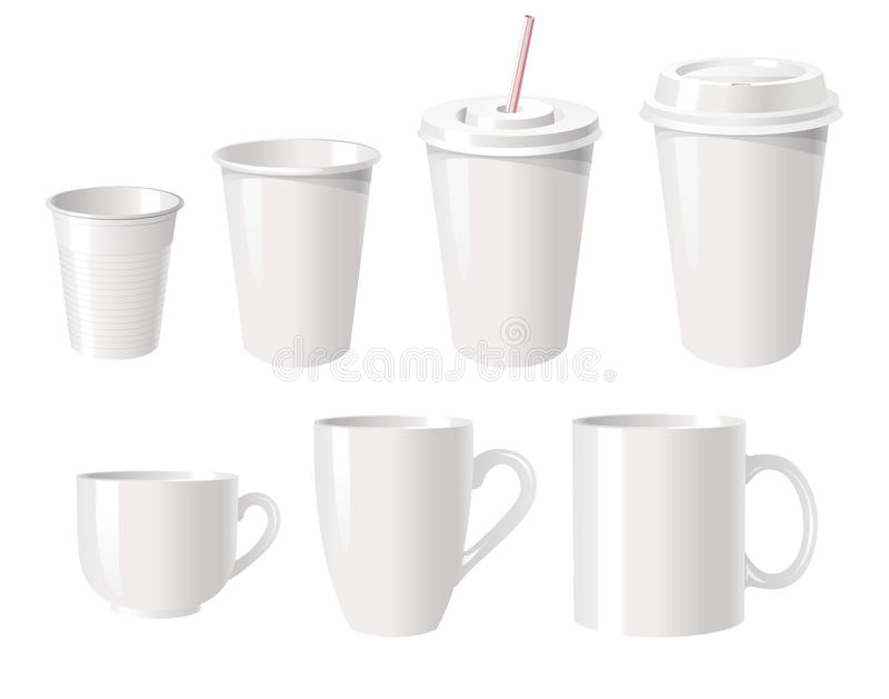 Download Coffee cups stock vector. Image of beverage, empty, group - 28163743