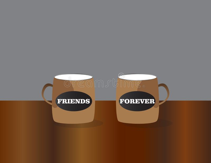 Coffee cups with best friends text. Friendship day celebration background royalty free illustration