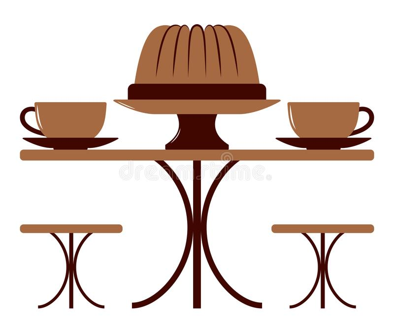 Coffee cups and bundt cake royalty free illustration