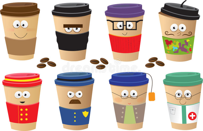 Download Coffee Cups Characters stock vector. Image of cartoon - 32419138