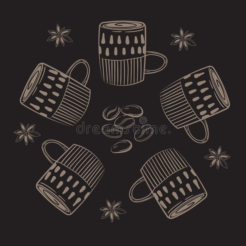 Coffee cups. Circle concept stock illustration