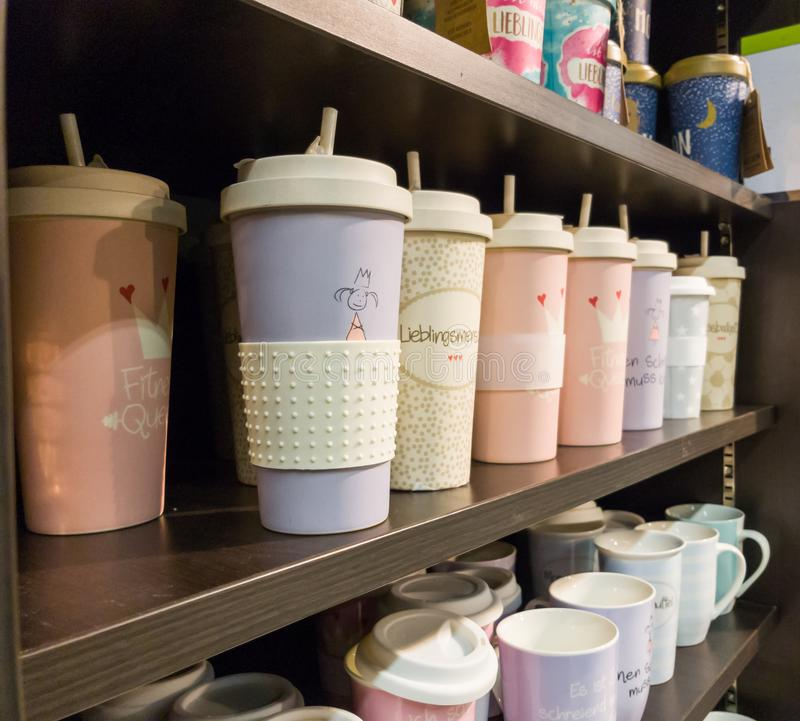 Coffee cups in different styles. Some cups for coffee or tee royalty free stock photo