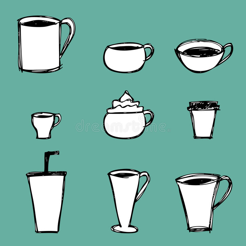 Coffee Cups Icons. Illustration of hand drawn coffee cup icons stock illustration