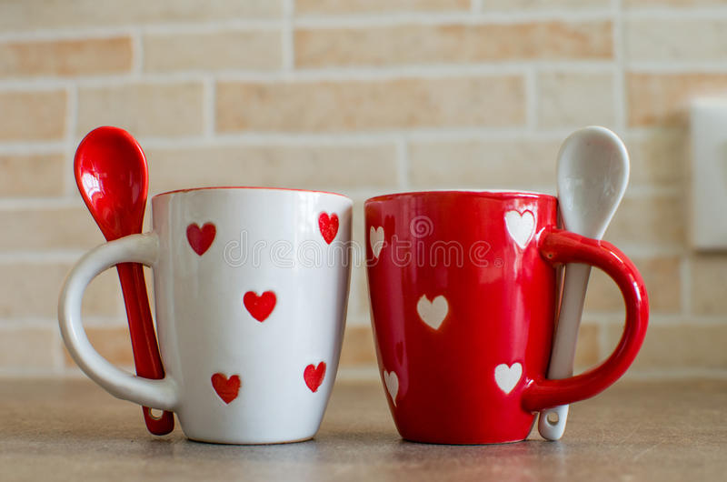 Coffee cups love set. Coffee cups on a love theme royalty free stock photos
