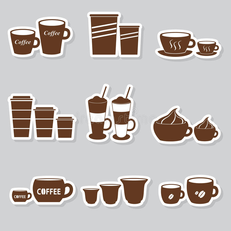 Coffee cups and mugs sizes variations stickers set vector illustration
