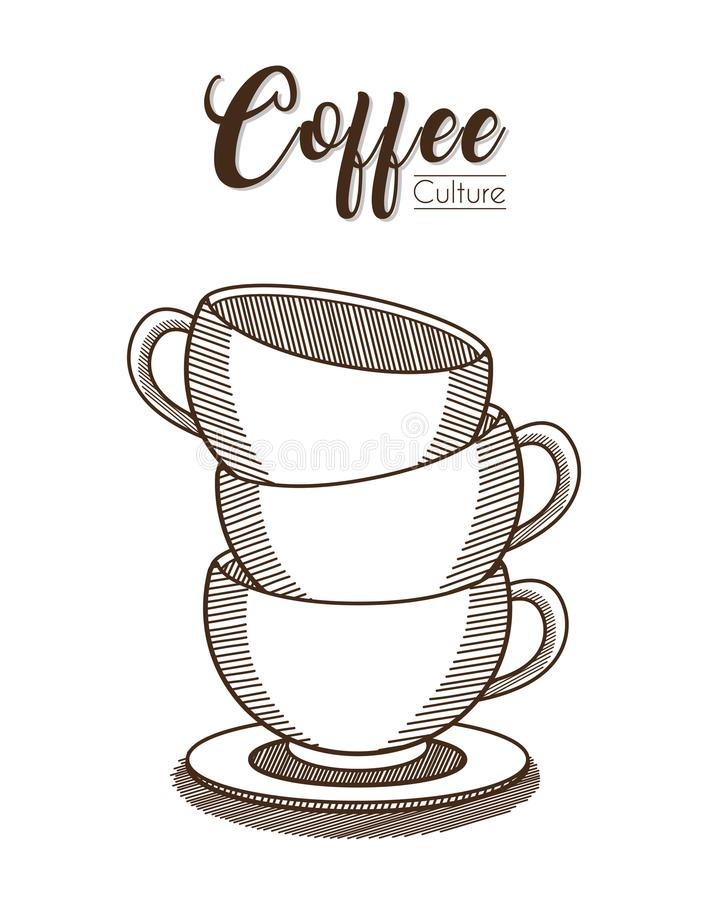 Coffee cups piled. Hand drawing vector illustration stock illustration