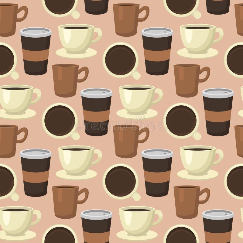 Coffee cups seamless pattern background food drink design restaurant vector illustration. vector illustration