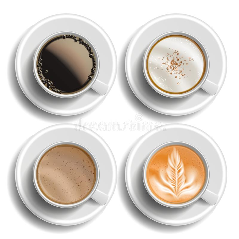 Coffee Cups Set Vector. Top View. Different Types. Coffee Menu. Hot Latte, Cappuchino, Americano, Raf Coffee. Fast Food. Cup Beverage. White Mug. Isolated royalty free illustration
