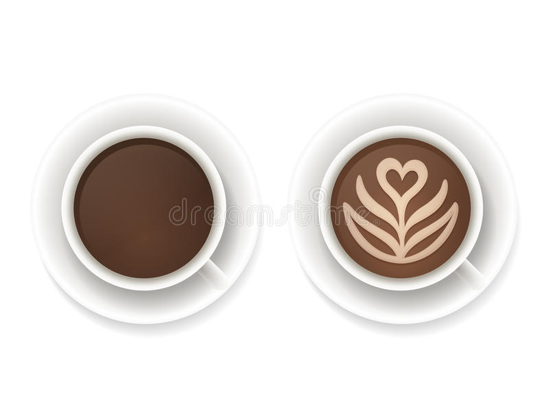 Coffee cups top view. Realistic coffee cups top view. Black coffee and latte foam art isolated vector illustration stock illustration