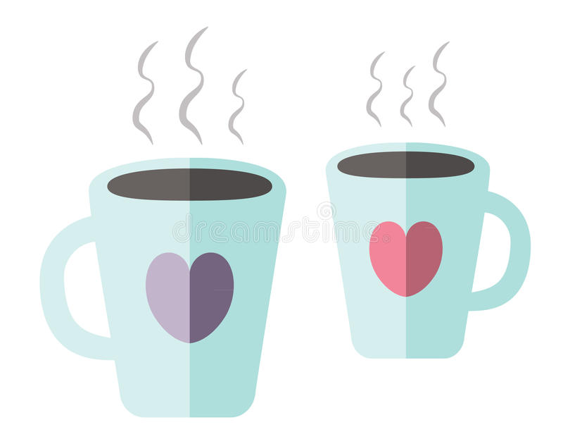 Coffee cups. Two coffee cups with hearts stock illustration