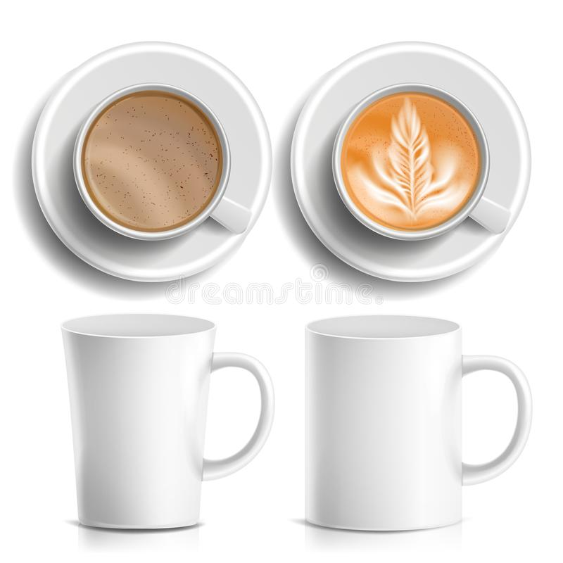 Coffee Cups Vector. Top, Side View. Different Types. Coffee Menu. Hot Coffee. Fast Food Cup Beverage. Breakfast And vector illustration