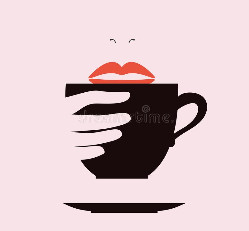 Coffee cups with women lips logo vector. - Vector stock illustration