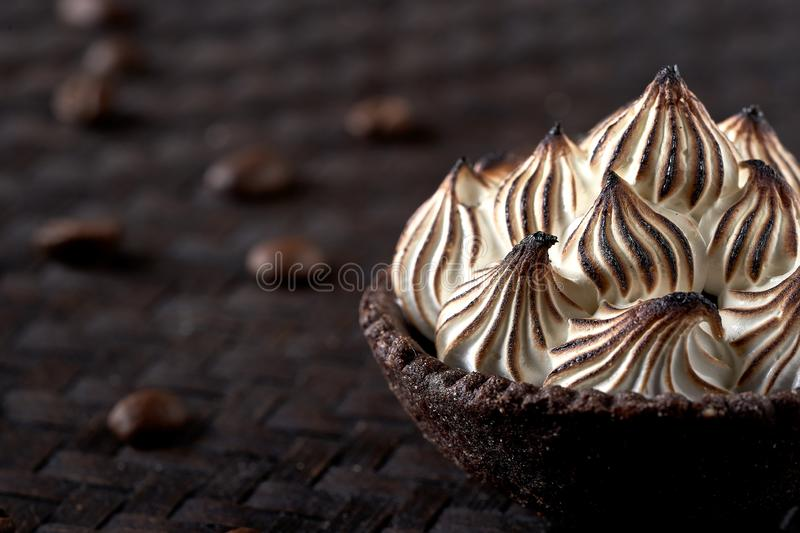 Coffee curd tart. Lateral view stock image