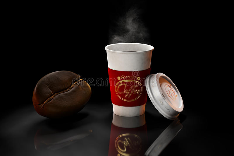 Coffee on dark background. Coffee in cup on dark background with large grain vector illustration