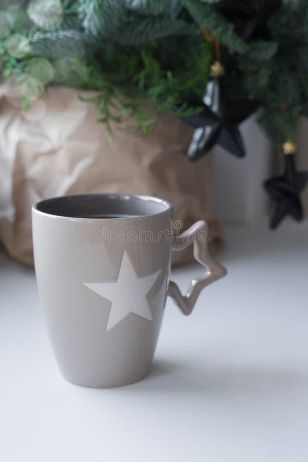 Coffee in a decorative mug,scandinavian style stock photo