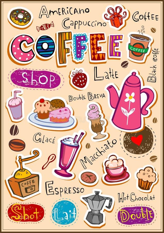 Coffee design elements royalty free illustration