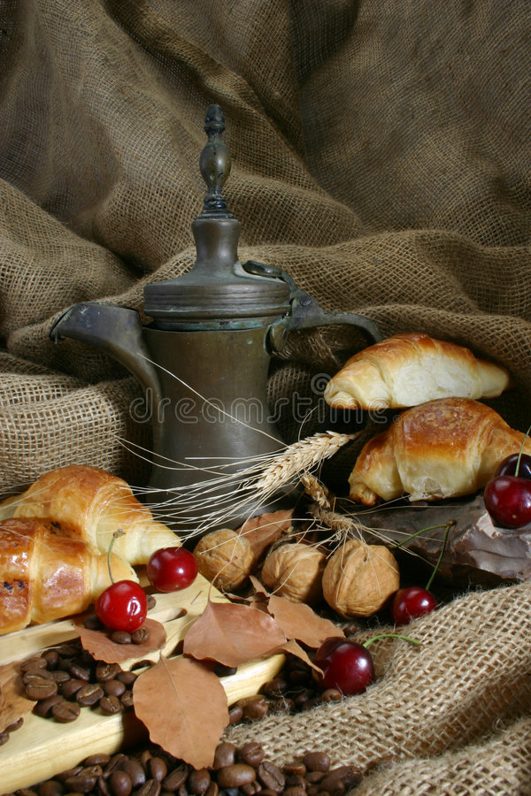Coffee designed 3. Food designed with coffeepot, cherry, wheat and pastry stock photography