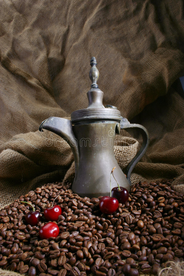 Coffee designed 4. Food designed with coffeepot, cherry, and coffee beans stock image